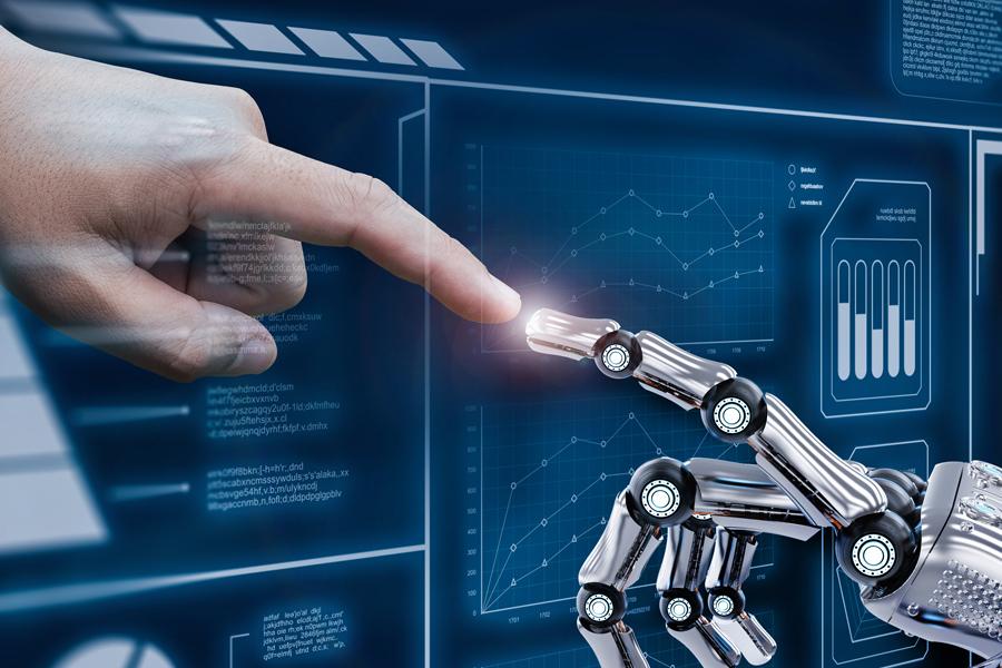 인간과 인공지능을 탑재한 로봇의 교감을 나타낸 이미지