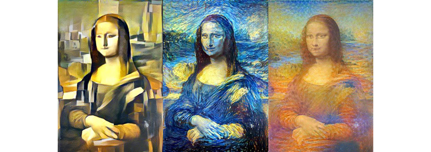 Mona Lisa restyled by Picasso, van Gogh, and Monet