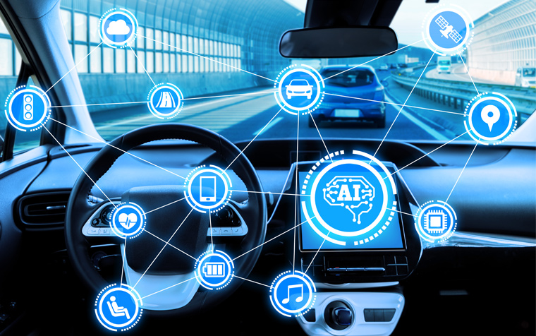 자동차 내부 시스템의 앱 연결 이미지
