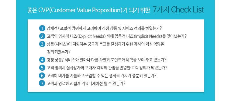 좋은 CVP가 되기 위한 7가지 체크리스트 -1. 잠재적.포괄적 범위까지 고려하여 경쟁 상품 및 서비스 정의를 하였는가? 2. 고객의 명시적 니즈(Explicit Needs)외에 암묵적 니즈(Implicit Needs)를 찾아냈는가? 3.상품(서비스)이 지향하는 궁극적 목표를 달성하기 위한 자사의 핵심 역량은 정의되었는가? 4. 경쟁 상품/서비스와 얼마나 다른 차별화 포인트와 혜택을 보여 주고 있는가? 5. 고객 정의시 실사용자와 구매자 각각의 관점을 반영한 고객 정의가 되었는가? 6. 고객이 대가를 지불하고 구입할 수 있는 경제적 가치가 충분히 있는가? 7. 고개고가 명료하고 쉽게 커뮤니케이션 될 수 있는가?