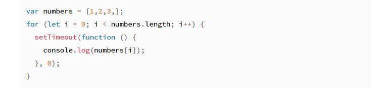var코드 let으로 변환 - var number=[1,2,3,]; for (let i=0; i < number.length; i++) { setTimeout(function () { console. log(number[i]); }, 0); }