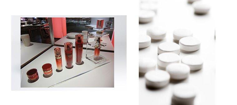(좌) ASTALIFT (출처: ASTALIFT) - 화장품, (우) AVIGAN Tablet 200mg (출처: FUJIFILM HOLDINGS CORP) - 알약