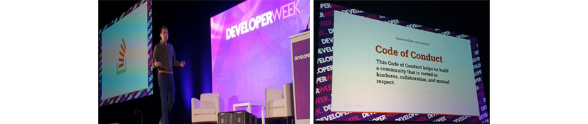 DeveloperWeek 2019 컨퍼런스 A Decade of Stack Overflow: Building a Place for Anyone Who Codes 발표 이미지