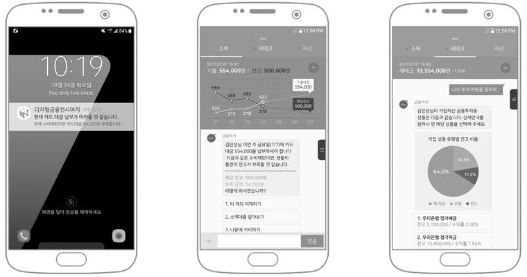삼성SDS '디지털금융컨시어지'의 알림 및 AI가상비서 상호작용 예시