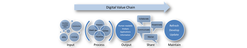Digital Value Chain: Input, Process, Output, Share, Maintain