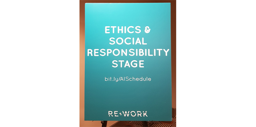 Ethics & Social Responsibility Stage 입구에 설치된 배너