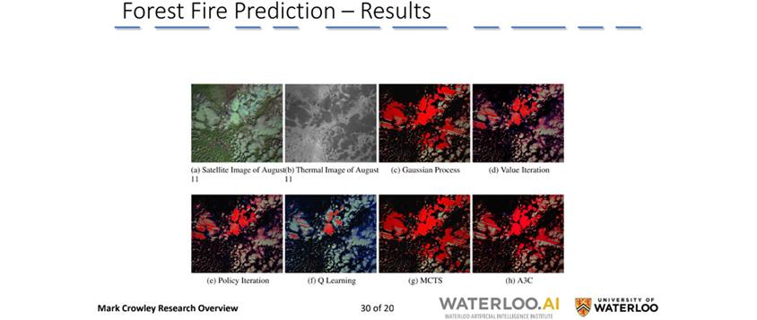 발표 자료 중 일부, '산불 예측 및 결과' 출처 : Rework 공식 블로그(re-work.co)