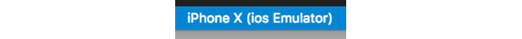 우측하단바가 No Devices에서 iPhone X (ios Emulator)로 변경된 화면
