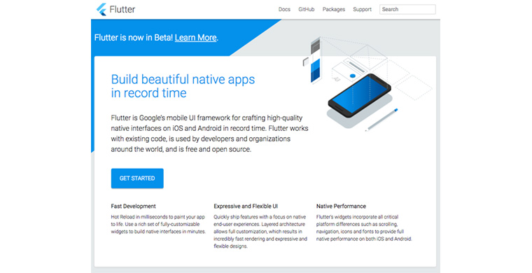 Flutter 홈페이지 화면으로 파랑색과 흰색을 주로 이용하여 구성되어 있고 Build beautiful native apps in record time 이라는 타이틀과 Flutter is Google's mobile UI framework for crafting high-quality native interfaces on iOS and Android in record time. Flutter works with existing code, is used by developers and organizations around the world, and is free and open source. 라고 설명이 적혀 있다. 그 아래도 GET STARTED 버튼이 있다.