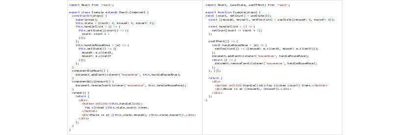 그림1 - 마우스 버튼 클릭 횟수와 위치정보 컴포넌트. 클래스 컴포넌트(좌), Hooks API를 이용한 함수 컴포넌트(우)