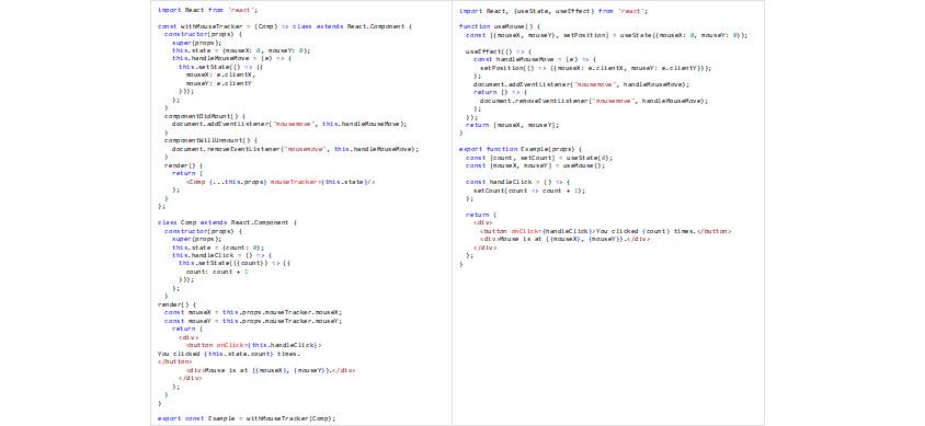 그림2 - [그림 1]의 컴포넌트에 마우스 추적 기능을 재사용 가능한 형태로 분리 및 적용할 때 HOC를 이용한 경우(좌)와 Hooks를 이용한 경우(우)