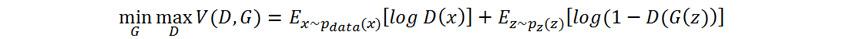 min/G max/D V(D,G) = E <sub>(x~pdata<sup> (x)</sup>)</sub> [logD(x)]+E <sub>(z~pz<sup>(z)</sup></sub>) [log(1 - D(G(z))]