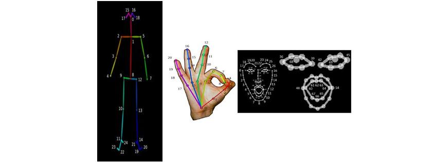 [그림 2] 오픈포즈가 추적하는 특징점 - 신체관절(좌), 손(가운데), 얼굴(우