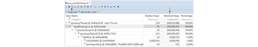 그림 5: MAT의 dominator tree : Java.pid34616.hpoof파일을 열면 하단에 MatParkingLot @)xf620de 16 240.009472 99.60%/java util ArrayList @ Oxf620de 24 240.009472 99.60%/javalang Object 73 @)xf620de 16 240.009472 99.60%