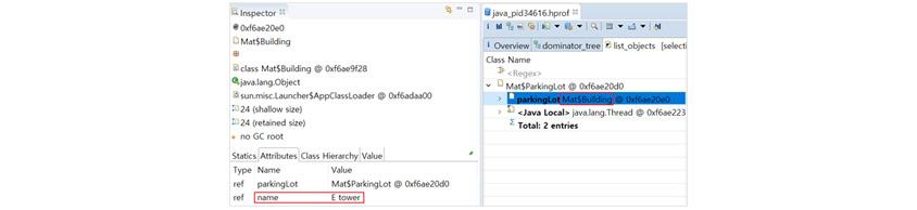 그림 6: MAT의 inbound list objects: inspector Ox6ae20e0 MatSBuilding  class MatBuilding Ox6ae9f28 javalang Object sun misc Launche Statics Attributes Class Hierachy Value  type name Value ref parkingLot MatParkingLot @ Ox6ae20d0 ref name E tower 클flr java.pid34616hpof 클릭 parkingLotMat$Building @ Ox6ae20e0