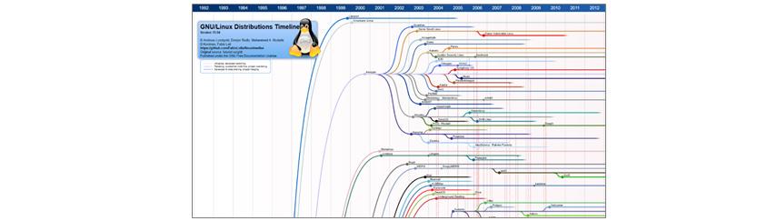 Linux 배포본의 각 계열과 연도별도 확장된 모듈의 연결 관계