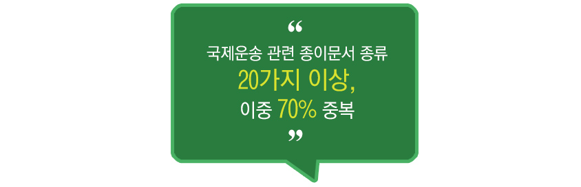 국제운송 관련 종이문서 종류 20가지 이상,이중 70% 중복
