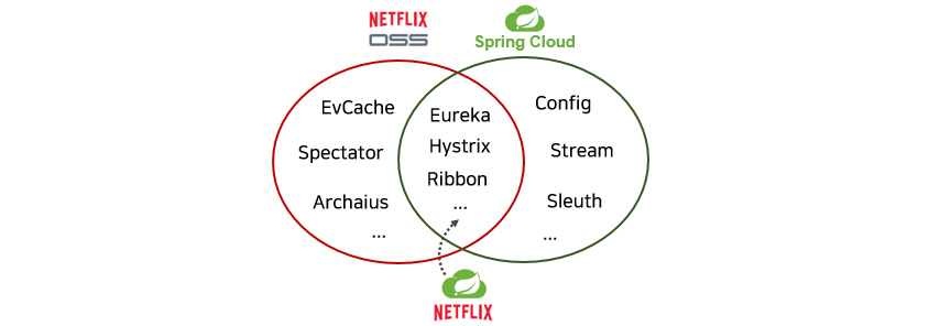 Netflix: Eureka, Hystrix, Ribbon / Netflix OSS: EvCache, Spectator, Archaius / Spring Cloud: Config, Stream, Sleuth