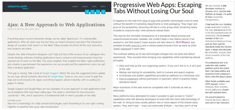 Ajax과 Progressive Web Apps 포스팅 화면