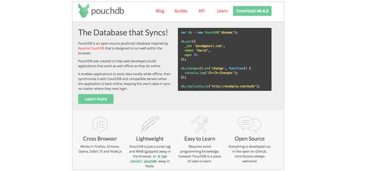pouchdb 홈페이지 화면