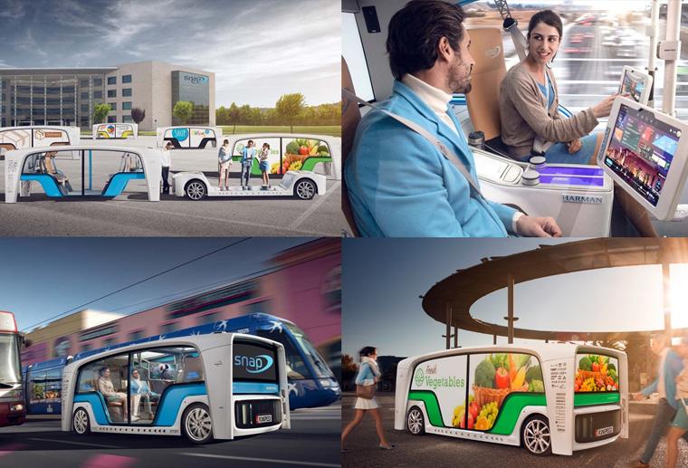 CES 2018에서 공개된 Rinspeed의 콘셉트카, 자율주행 마이크로버스 SNAP