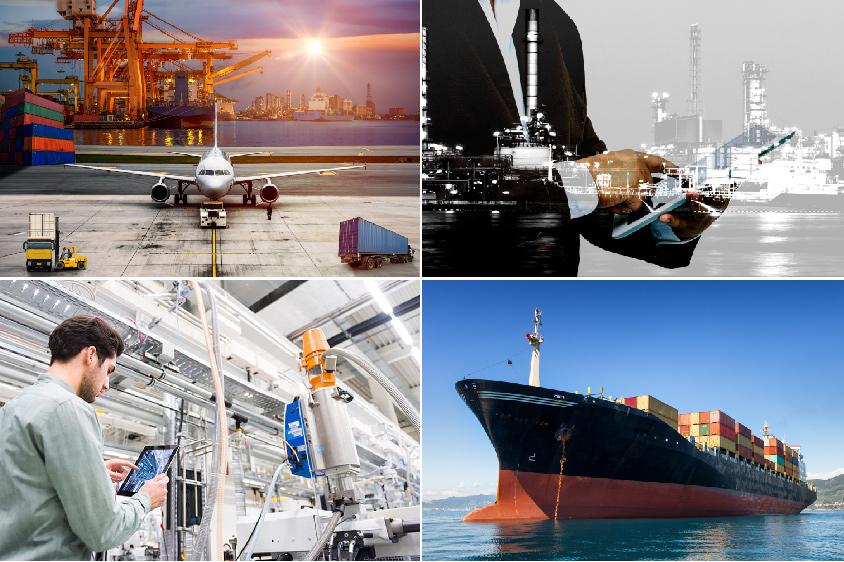 부두가의 항공물류, 스마트팩토리와 관리자의 오버랩, 공장라인에서 스마트기기로 업무처리, 화물선을 이용한 물류 총4가지 제조업 이미지