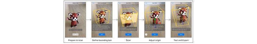 실제 사물(인형)을 3D 마커로 인식하도록 학습시키는 모습