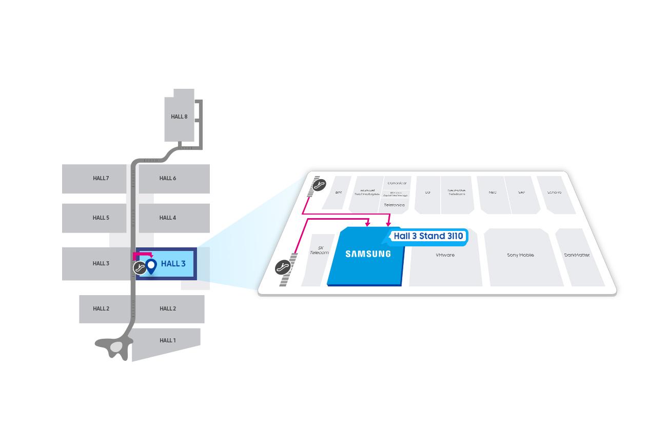 Samsung SDS Booth location at MWC - Fira Gran Via, Hall3 #3I10, Av. Joan Carles I, 64 08908 L'Hospitalet de Llobregat, Barcelona