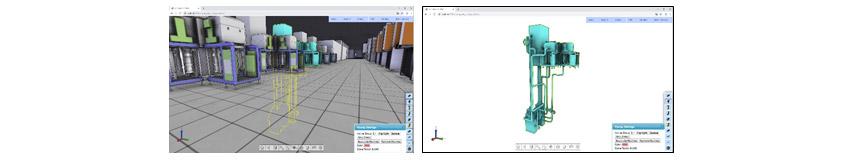 공장 내 파이프라인을 3D로 설계하는 화면