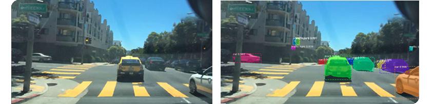 """인스턴스 세그먼테이션 시각 자료. 클래스(class) = """"차량(car)"""" 인 여러 인스턴스가 고유의 객체로 감지됨"""