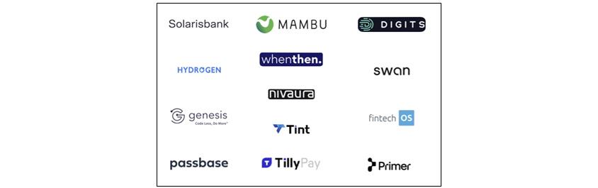 Solarisbank, MAMBU, DIGITS, HYDROGEN, whenthen., swan, nivaura, genesis, Tint, fitechOS, passbase, TillyPay, Primer