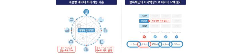 [그림 1] 블록체인 기반 대용량 데이터 및 민감정보 처리 한계