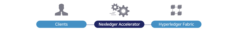 넥스레져액슬레이터 - 2<sup>nd</sup> Layer Approach , Nexledger Accelerator는 오픈소스와의 호환성을 유지하기 위해 기존 오픈소스 기반의 블록체인 위에 새로운 계층(Layer)을 구성하고 트랜잭션 전후처리를 통해 처리속도를 향상시킵니다