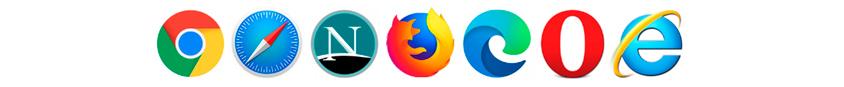 크롬, 사파리, 네스케이프,파이어폭스,엣지,오페라,익스플로어로고