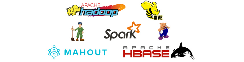APACHE hadoop, HIVE, Spark, MAHOUT, APACHE HBASE