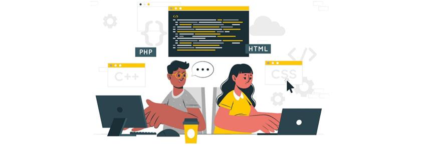 PHP와 HTML을 페어 프로그래밍을 통해 코드를 리뷰하는 장면