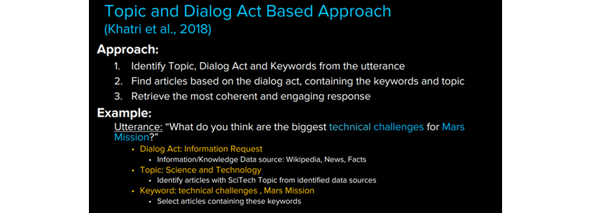 Topic and dialog act based approach - 대화 내에서 주제, Dialog act, 키워드를 인식하고 그것과 관련된 글을 찾아 학습한 뒤, 논리적인 피드백을 만들어 내는 방식 설명