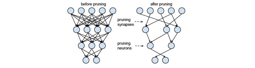 Pruning 이전과 이후의 Neural Network , 신경망은 각 뉴런이 독립적으로 동작하는 처리기의 역할을 하기 때문에 병렬성이 뛰어나고       많은 연결선에 정보가 분산되어 있기 때문에 몇몇 뉴런에 문제가 발생하더라도 전체 시스템에 큰 영향을 주지 않으므로 결함 허용(fault tolerance) 능력이 있으며, 주어진 환경에 대한 학습 능력이 있다.       신경망은 이와 같은 특성 때문에 인공지능 분야의 문제해결에 이용되고 있으며 문자인식 화상처리 자연언어처리 음성인식등 여러 분야에서 이용되고 있다
