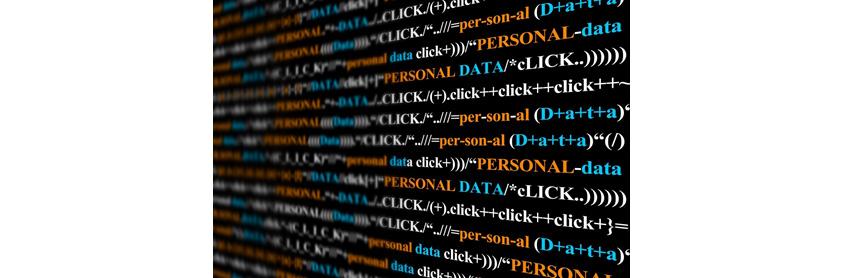 Personal Data 텍스트와 Click 텍스트를 반복하여 수학공식처럼 보이도록 디자인한 이미지