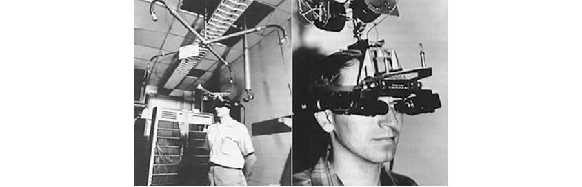 양안 디스플레이와 머리의 움직임을 추적하는 센서가 달린 가상공간이 선으로만 표현되는 가상현실가 증강현실을 위한 HMD