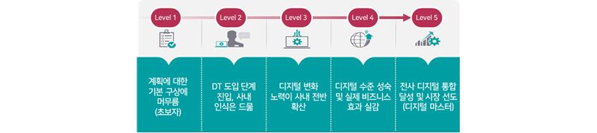 Level 1 - 계획에 대한 기본 구상에 머무름(초보자), Level 2 - DT 도입 단계 진입, 사내 인식은 드묾, Level 3 - 디지털 변화 노력이 사내 전반 확산, Level 4 - 디지털 수준 성숙 및 실제 비즈니스 효과 실감, Level 5 - 전사 디지털 통합 달성 및 시장 선도(디지털 마스터)