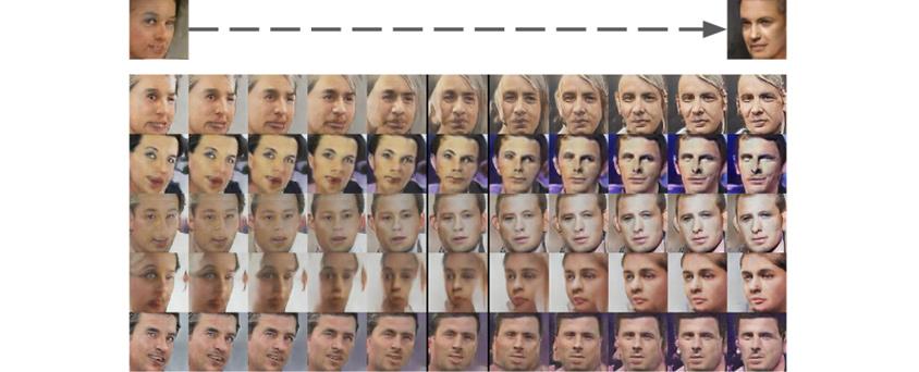 왼쪽을 바라보는 얼굴과 오른쪽을 바라보는 얼굴 사이에 회전하는 얼굴 평균