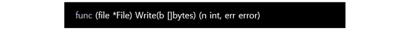func (file *File) Write(b []bytes)(n int, err error)