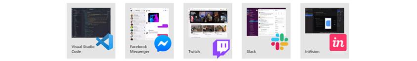 비쥬얼스튜디오코드, 페이스북메신저, 트위치, 슬랙, 인비젼 등 화면 및 로고