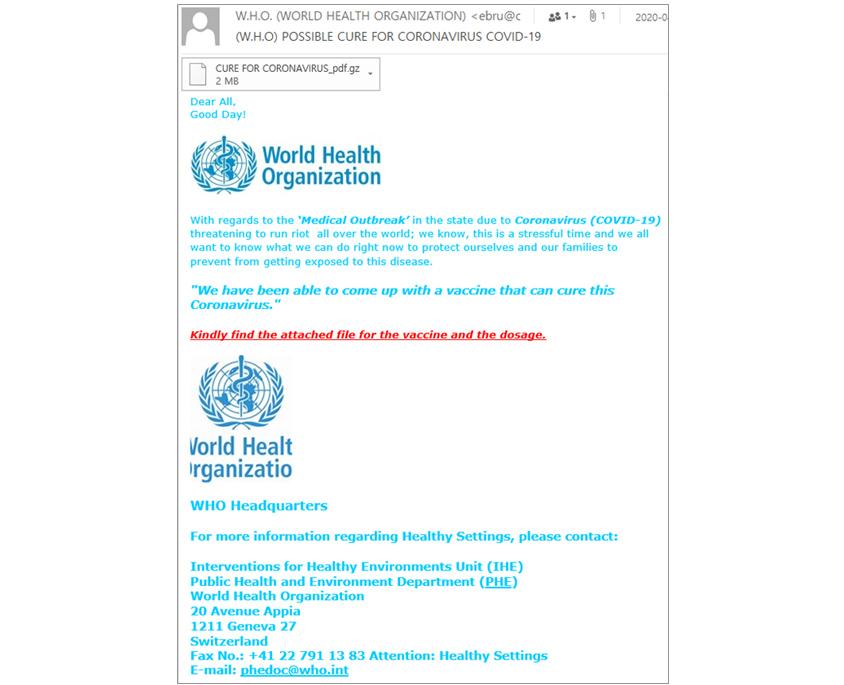 악성메일 제작자 또한 메일 내용에 신뢰를 주기 위하여 WHO를 사창한 악성메일 샘플화면
