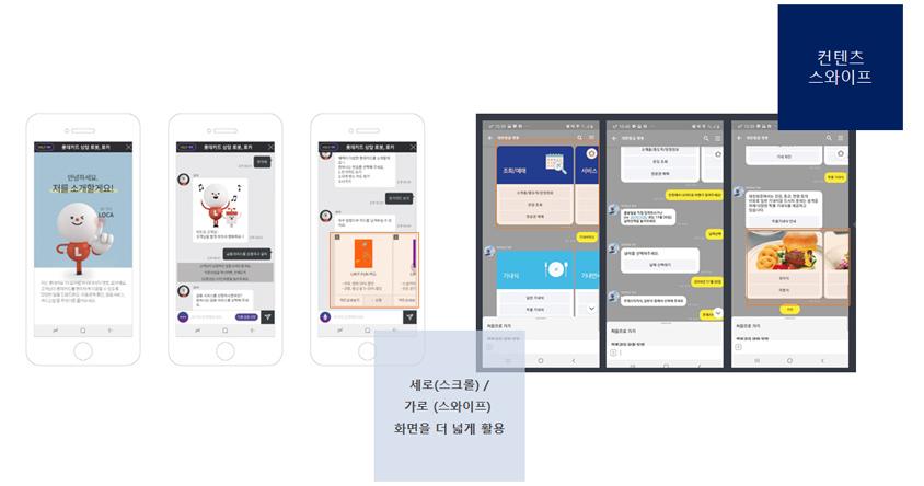 컨텐츠 스와이프, 세로(스크롤)/가로(스와이프) 화면을 더 넓게 활용