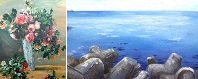 오귀스트 르누아르' 작품 모작, 속초 바다 그림
