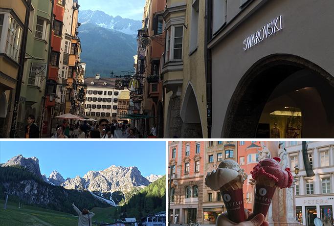 (위) 마리아 테레지아 거리와 알프스산맥 (아래) 아름다운 알프스산맥과 오스트리아에서 맛보는 젤라또