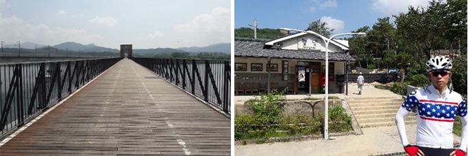 (좌) 철교를 개조한 자전거길, (우) 능내역 인증센터