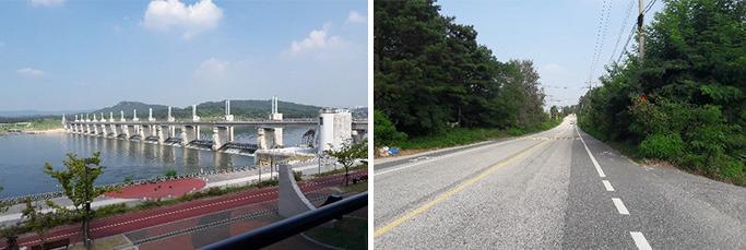 (좌) 여주보 인증센터, (우) 국도 옆 자전거길